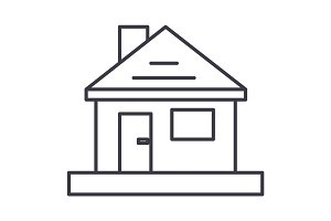 house,home repair vector line icon, sign, illustration on background, editable strokes
