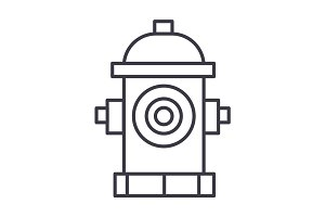 hydrant vector line icon, sign, illustration on background, editable strokes
