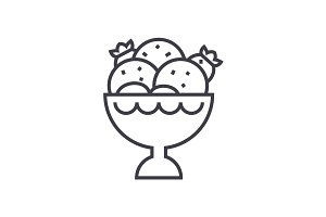 ice cream bowl vector line icon, sign, illustration on background, editable strokes
