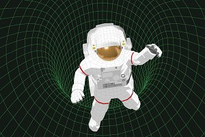 Astronaut floating in a black hole
