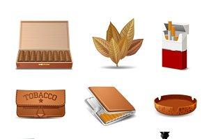 Tobacco realistic icon set