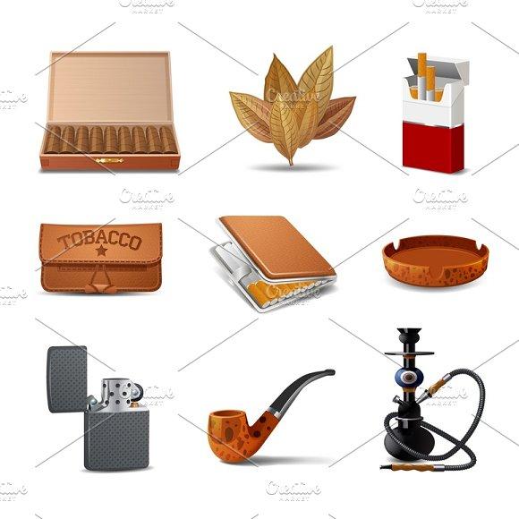 Tobacco Realistic Icon Set