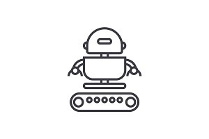 industrial army robot  vector line icon, sign, illustration on background, editable strokes