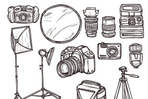 Vintage and modern camera icons