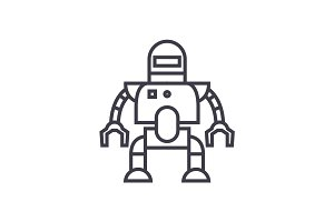industrial robot vector line icon, sign, illustration on background, editable strokes