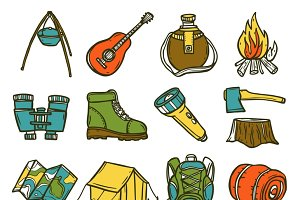 Camping sketch icon set
