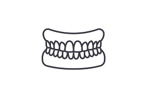 jaw with teeth vector line icon, sign, illustration on background, editable strokes