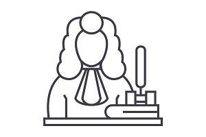 judge,gavel  vector line icon, sign, illustration on background, editable strokes