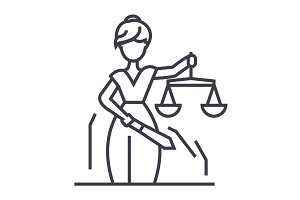 justice statue vector line icon, sign, illustration on background, editable strokes