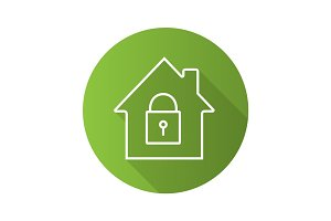 Locked house flat linear long shadow icon