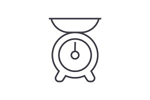 kitchen weight vector line icon, sign, illustration on background, editable strokes