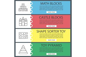 Kids toys web banner templates set