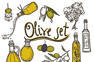 Olive sketch decorative icons set