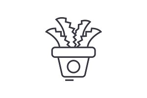 plant in the pot,office cactus vector line icon, sign, illustration on background, editable strokes
