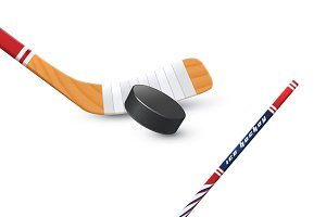 Ice hockey realistic illustration