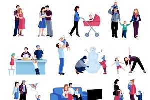 Parenting activities flat icons set