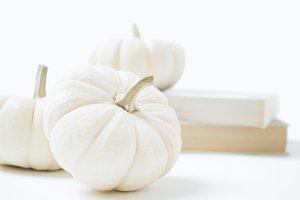 White Pumpkins and Books