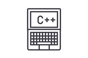 programming, coding, c plus vector line icon, sign, illustration on background, editable strokes