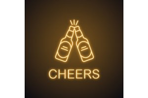 Toasting beer bottles neon light icon