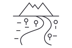 road to mountains vector line icon, sign, illustration on background, editable strokes