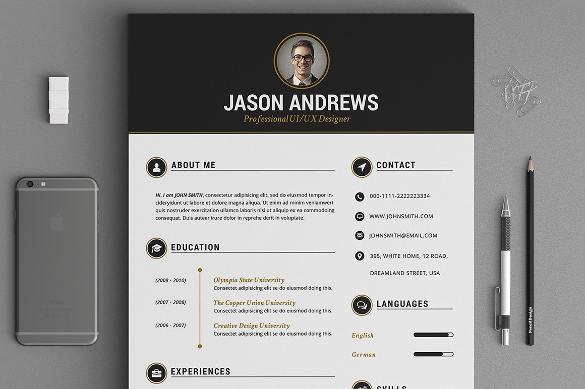 the elegant resume cv set template resume templates creative market