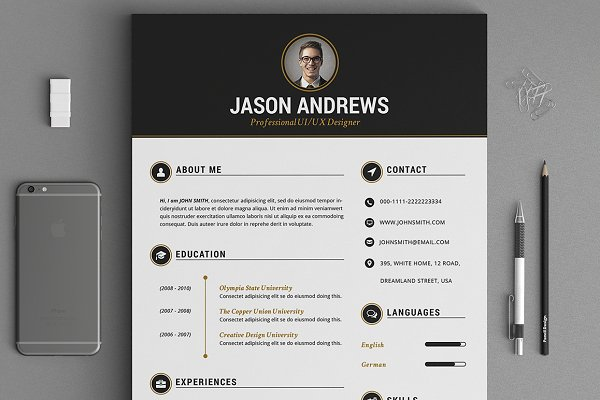 The Elegant Resume/CV Set Template