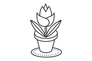 rose plant pot vector line icon, sign, illustration on background, editable strokes