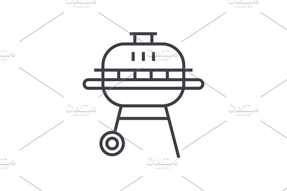 Round Barbeque Vector Line Icon Sign Illustration On Background Editable Strokes
