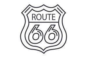 route 66 sign vector line icon, sign, illustration on background, editable strokes