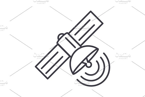 Satellite Vector Line Icon Sign Illustration On Background Editable Strokes