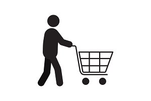 Man with shopping cart silhouette icon