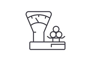 scales counter,shop vector line icon, sign, illustration on background, editable strokes