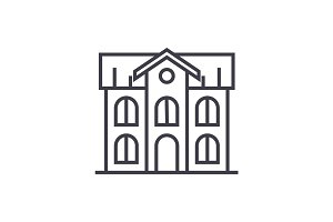 school building vector line icon, sign, illustration on background, editable strokes