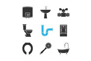 Plumbing glyph icons set