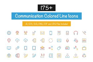 175+ Communication Colored Line Icon