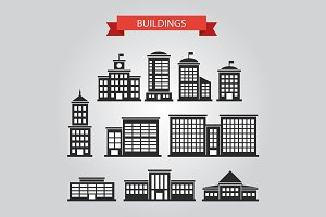 Buildings Silhouettes Icons Set 1