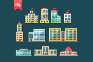 Buildings Flat Design Icons Set 1