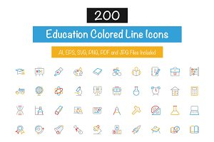 200 Education Colored Line Icons