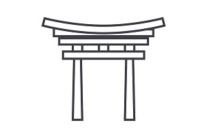 shinto vector line icon, sign, illustration on background, editable strokes