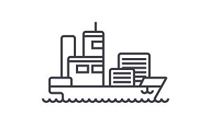 ship cargo container  vector line icon, sign, illustration on background, editable strokes
