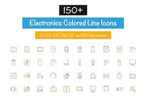 150+ Electronics Colored Line Icons