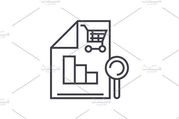 Shopping Analysis Vector Line Icon Sign Illustration On Background Editable Strokes