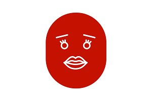 Smile with female lips glyph color icon