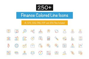 250+ Finance Colored Line Icons
