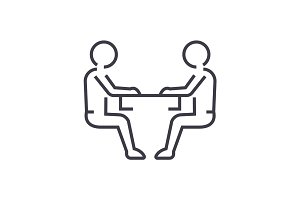 sitting men, conversation vector line icon, sign, illustration on background, editable strokes