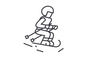skier vector line icon, sign, illustration on background, editable strokes