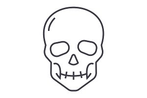 skull vector line icon, sign, illustration on background, editable strokes