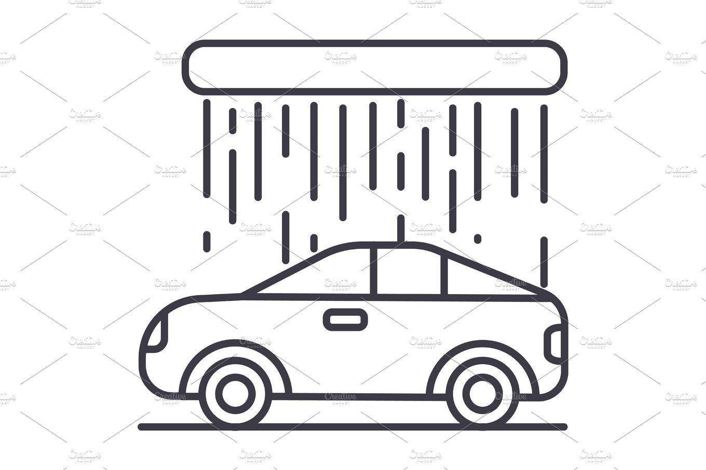 car wash vector line icon, sign, illustration on