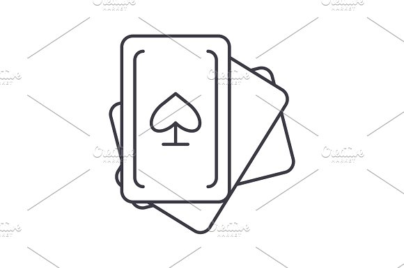 Cards Game Vector Line Icon Sign Illustration On Background Editable Strokes