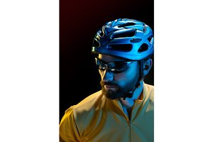 The bicyclist on black, studio shot.